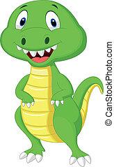Cute green dinosaur cartoon - Vector illustration of Cute...