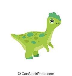Cute green dinosaur, funny baby dino cartoon character vector Illustration