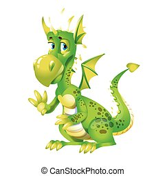 Cute green dragon cartoon isolated on white vector illustration