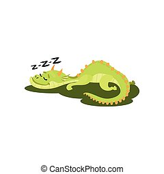 Cute green dragon sleeping on grass. Fantastic animal with small horns and long tail. Flat vector design