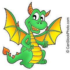 Cute green dragon - color illustration.