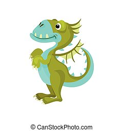 Cute green dragon with blue belly and muzzle. Fantastic animal with small wings and long tail. Flat vector icon
