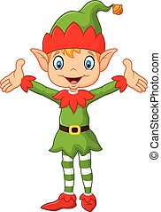 Cute green elf boy costume hands up - Vector illustration of...