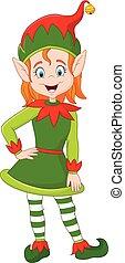 Cute green elf posing - Vector illustration of Cute green...
