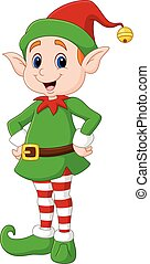 Cute green elf posing. isolated on white background