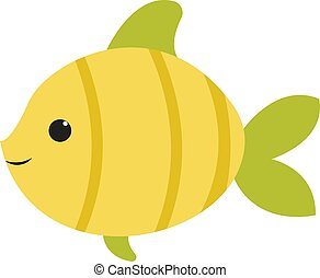 Cute green fish, illustration, vector on white background.