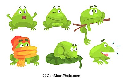 Cute Green Frog Cartoon Character of Different Activities Set, Funny Amphibian Animal with Various Emotions Vector Illustration