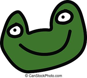 Cute green frog cartoon face on white background