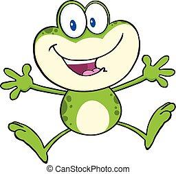 Cute Green Frog Character Jumping