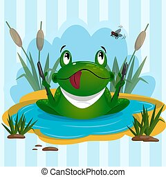 Cute green frog get ready to eat