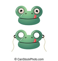 Cute green frog kid mask with red tongue
