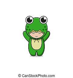 Cute green frog mascot character illustration