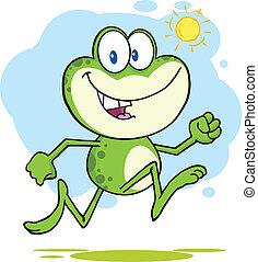 Cute Green Frog Running Outdoor
