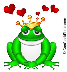 Cute Green Frog with Crown Illustration - Cute Green Frog ...