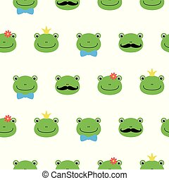 Cute green frog with flower, crown, bow, mustache cartoon character kawaii pattern