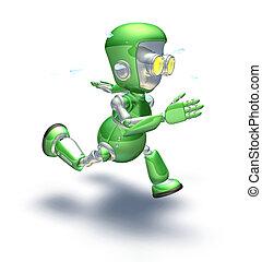 Cute green metal robot character running a sprint - A cute...