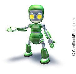 Cute green metal robot character showing - A cute green...