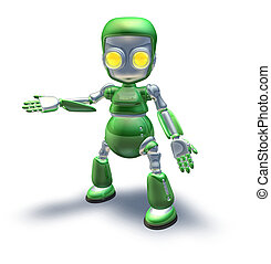 Cute green metal robot character showing - A cute green...