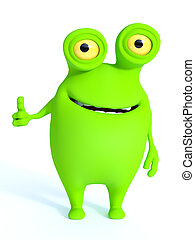 Cute green monster doing a thumbs up.