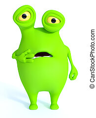 Cute green monster looking shocked.