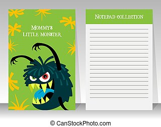 Cute green notebook template with monster