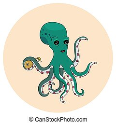 Cute green octopus holding a fish. Hand drawing.
