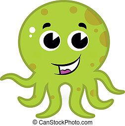 Cute green octopus isolated on white
