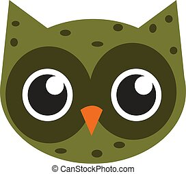 Cute green owl, illustration, vector on white background.