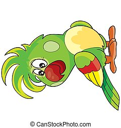 cute green parrot character, cartoon illustration, isolated object on white background, vector illustration,