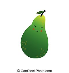Cute Green Pear, Funny Fruit Cartoon Character with Funny Face Vector Illustration