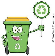 Cute Green Recycle Bin