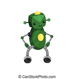 Cute green robot standing on his feet. Vector illustration on white background.