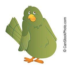 Cute Green Scared Bird