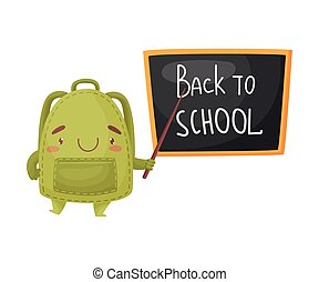 Cute green school bag with a pointer at the school board. Vector illustration on white background.