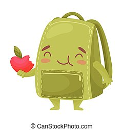 Cute green schoolbag holding an apple. Vector illustration on white background.