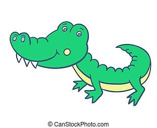green smiling crocodile