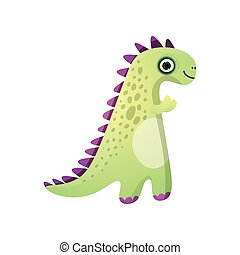 Cute green smiling dinosaur with violet plates from prehistoric