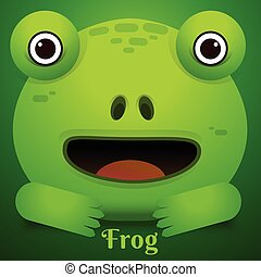 Cute green tree frog cartoon/Vector Frog Character Icon