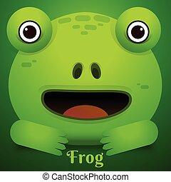 Cute green tree frog cartoon/Vector Frog Character Icon