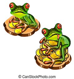 Cute green tree frog with a red tongue stole a gold coin isolated on white background. Vector cartoon close-up illustration