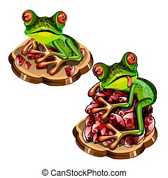 Cute green tree frog with a red tongue stole a precious stones rubies isolated on white background. Vector cartoon close-up illustration.