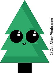 Cute green tree, illustration, vector on white background.