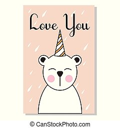 Cute greeting card of animals with Bear.