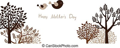 Cute greeting card or banner with trees and flying birds for Mother's day