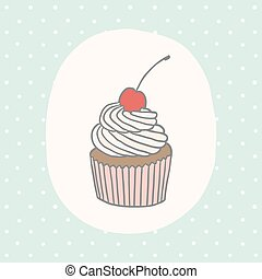 Cute greeting card with cupcake.