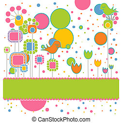 Cute Greeting Card with Flowers and Birds