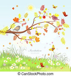 cute greeting card with lovely scenery autumn branch tree and bu
