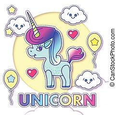 Cute Greeting Cards with Magic Unicorn.
