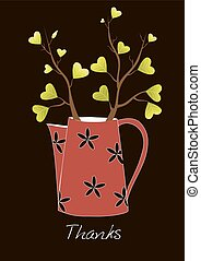 Cute greeting card,Teapot with tree, Vector illustration.