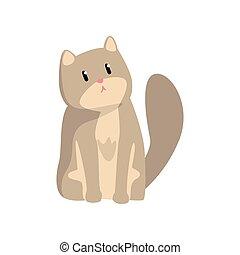 Cute grey cat, funny pet character, furry human friend vector Illustration